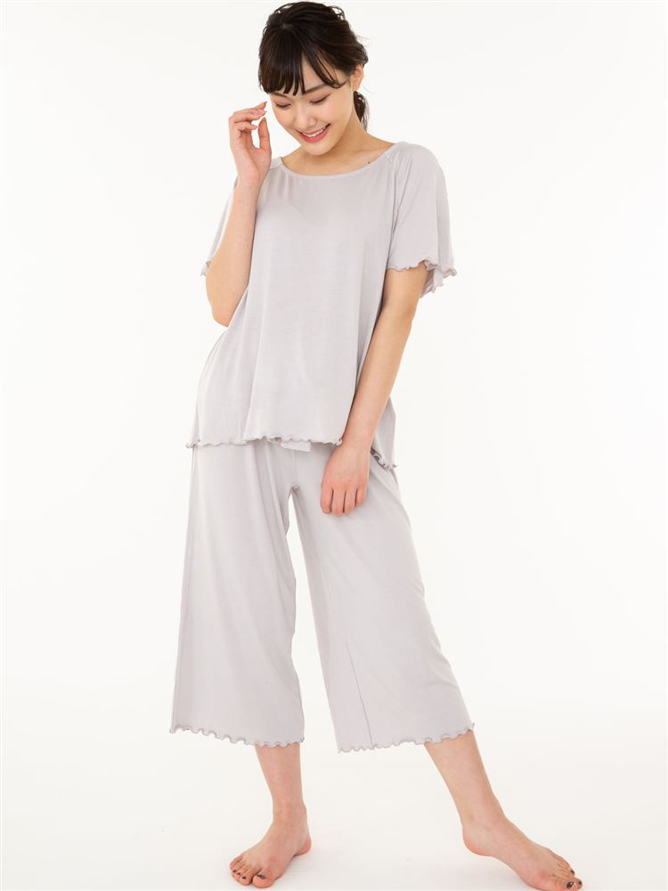 ベア天無地リボンフレアパンツ半袖パジャマ