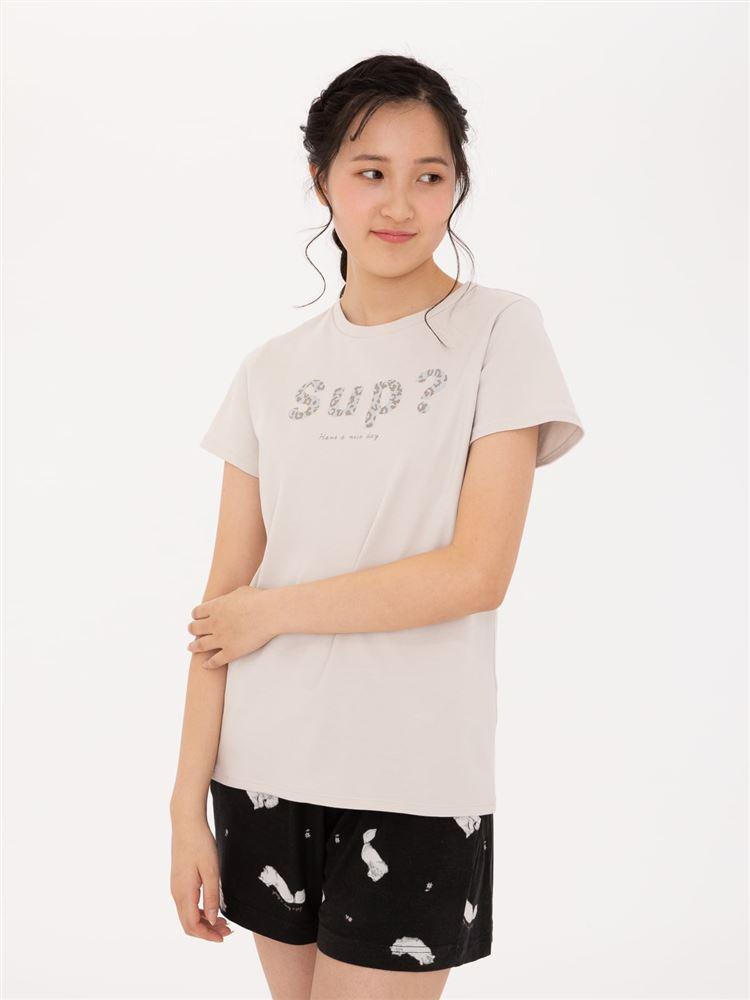 綿スムースレオパードロゴTシャツ