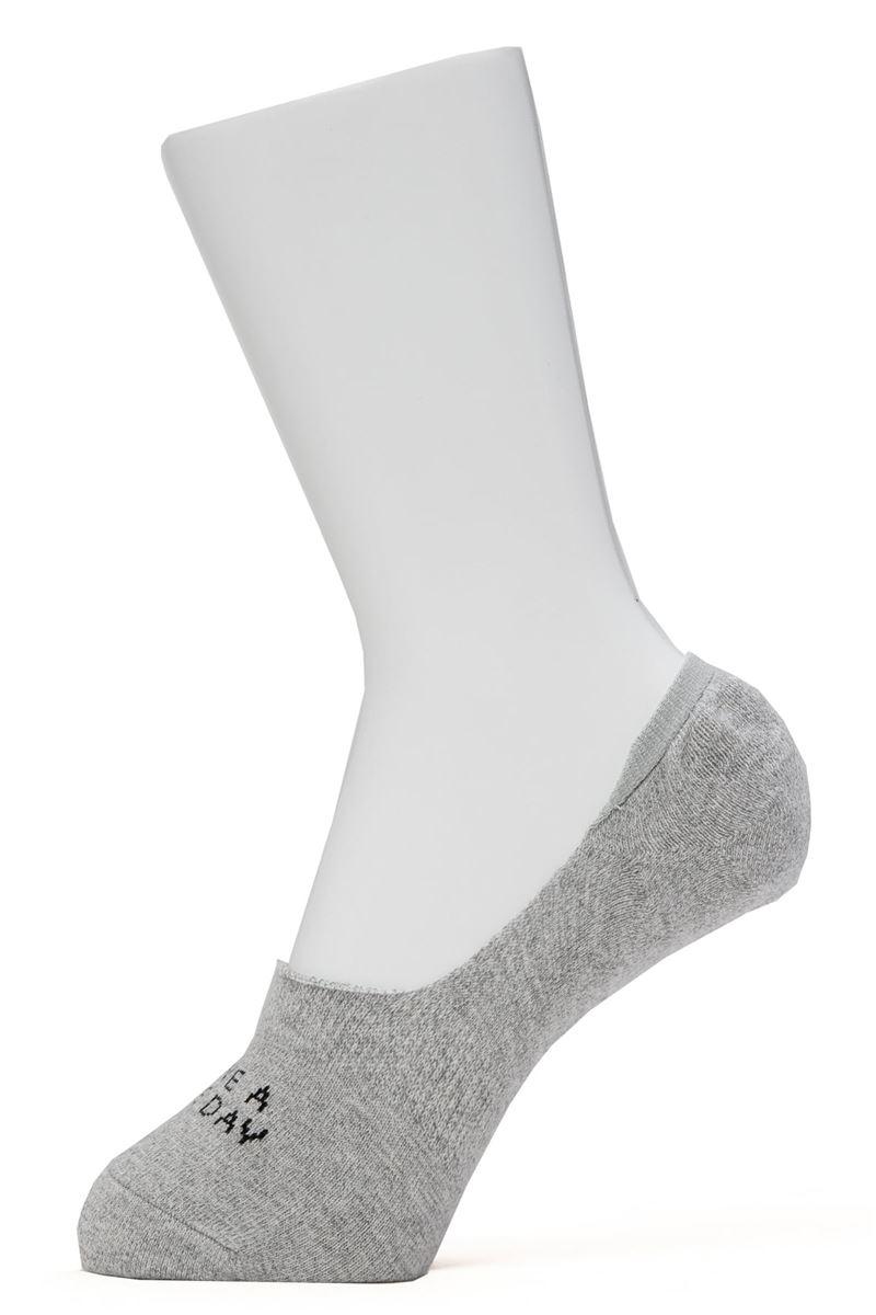 フロントロゴ撚り杢深履きカバーソックス