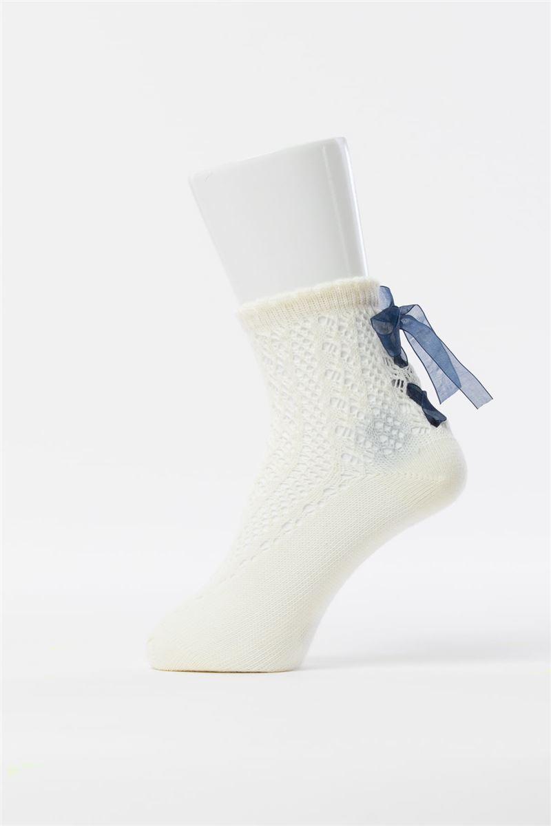 綿混ルミー編み上げオーガンジーリボン付きソックス14cm丈