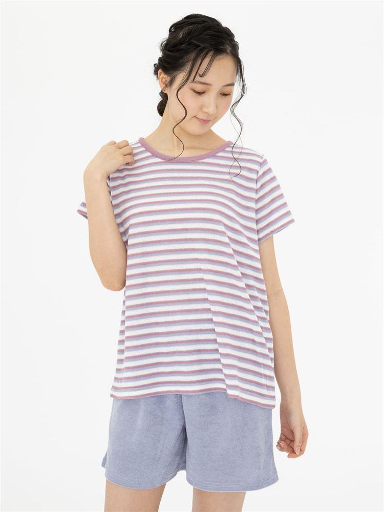 パイルマルチボーダー柄半袖パジャマ