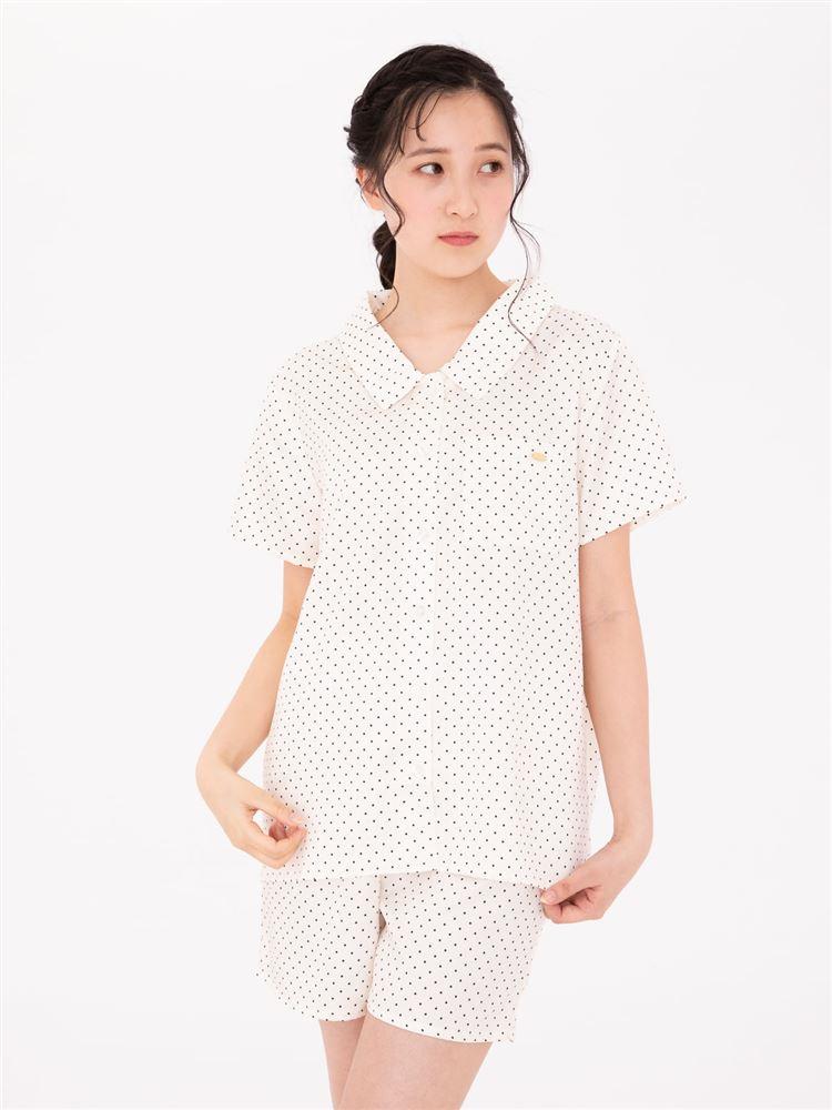 サテンピンドット前開き半袖パジャマ