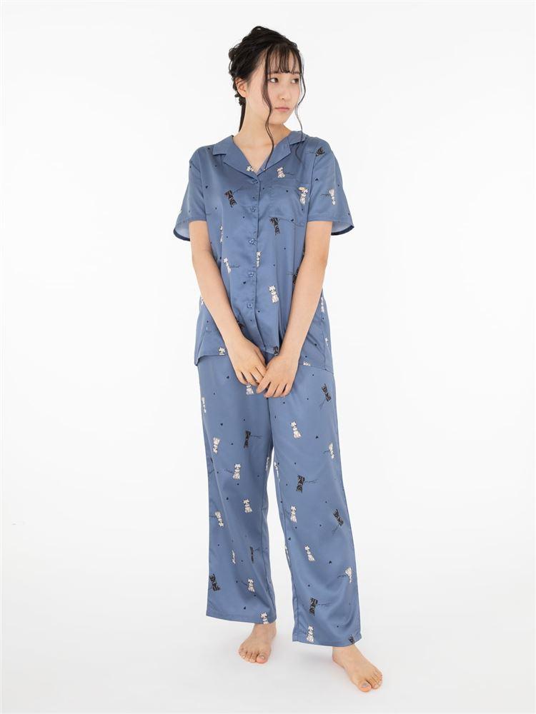 猫柄サテンパジャマ(半袖)