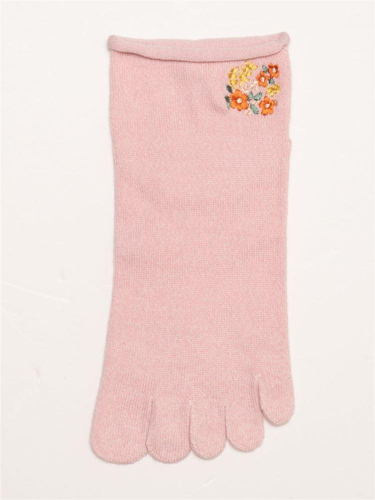 履き口ゆったり花刺繍5本指くるぶしソックス
