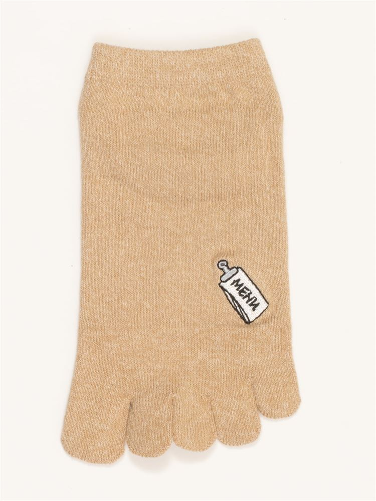 綿混カフェドリンク刺繍5本指くるぶしソックス