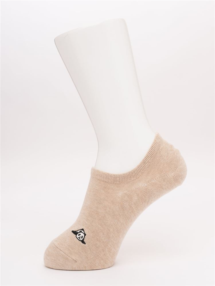 メランジ左右違いパンダ刺繍ローカット綿混くるぶしソックス