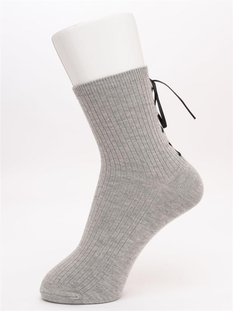 バック編み上げサテンリボン綿混リブソックス14cm丈
