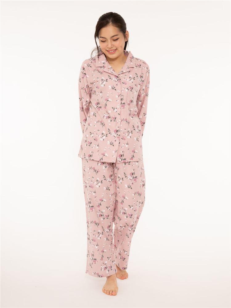 綿フランネル花柄パジャマ