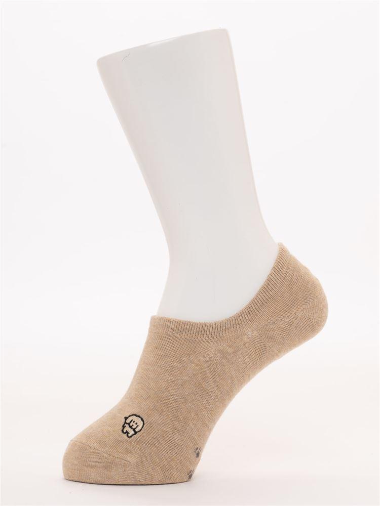 左右柄違い犬刺繍と足跡柄ローカットくるぶしソックス