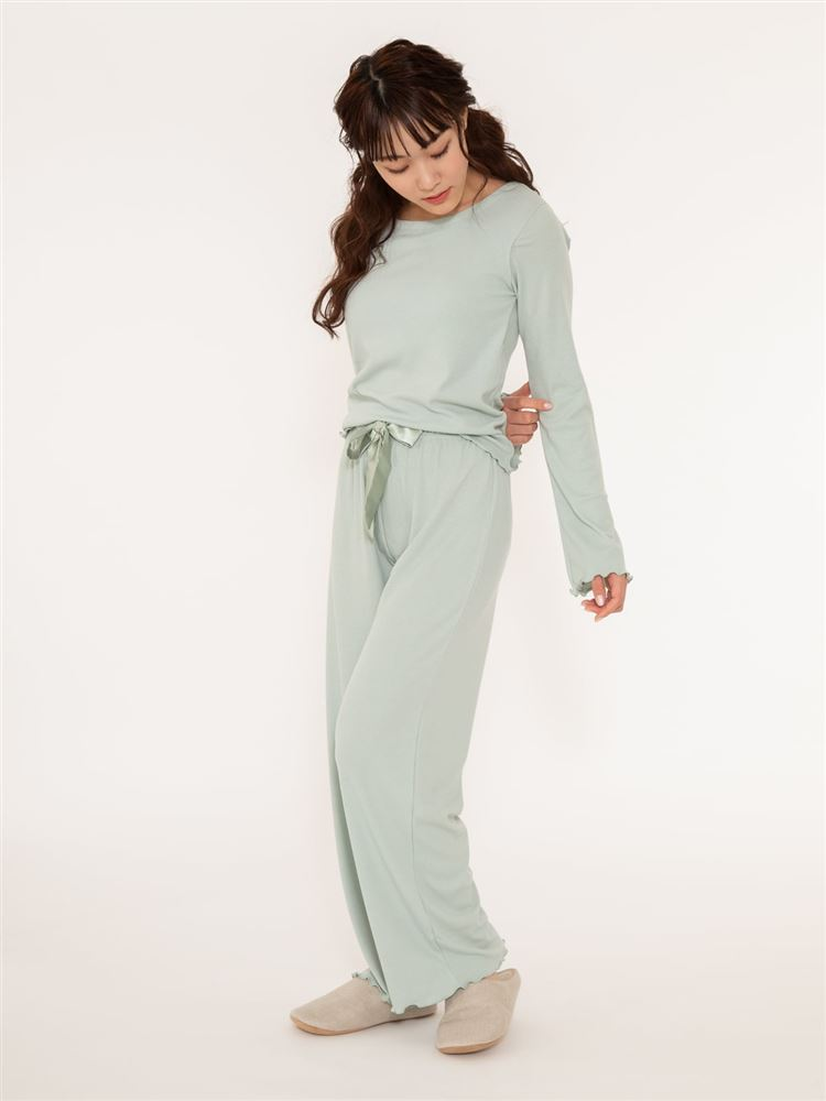 リブ長袖カップ付きパジャマ