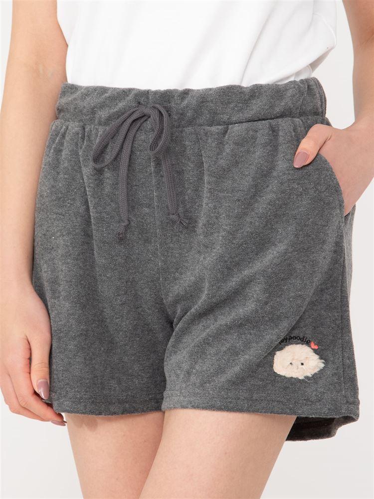 トイプードル刺繍パイル1分丈パンツ