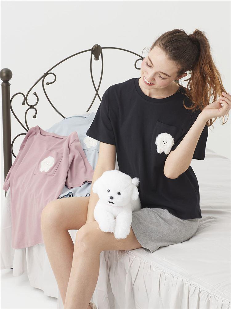 綿スムースビションフリーゼ刺繍Tシャツ