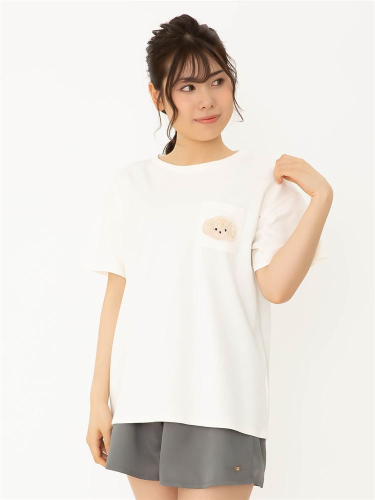 綿混トイプードル刺繍Tシャツ