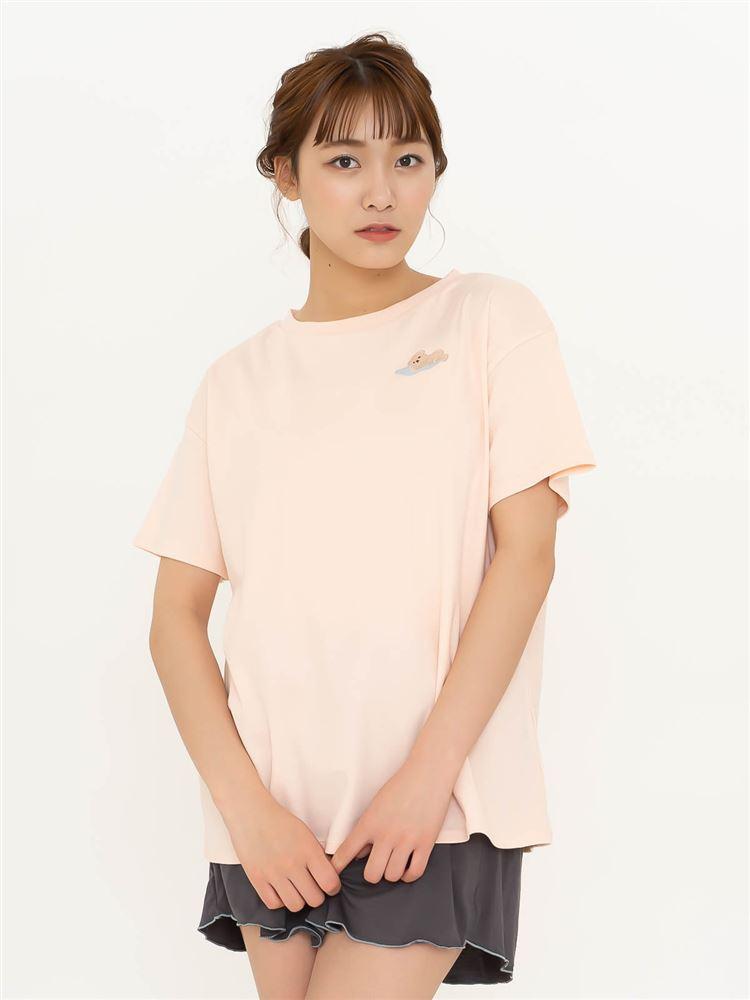 綿スムースくま刺繍Tシャツ