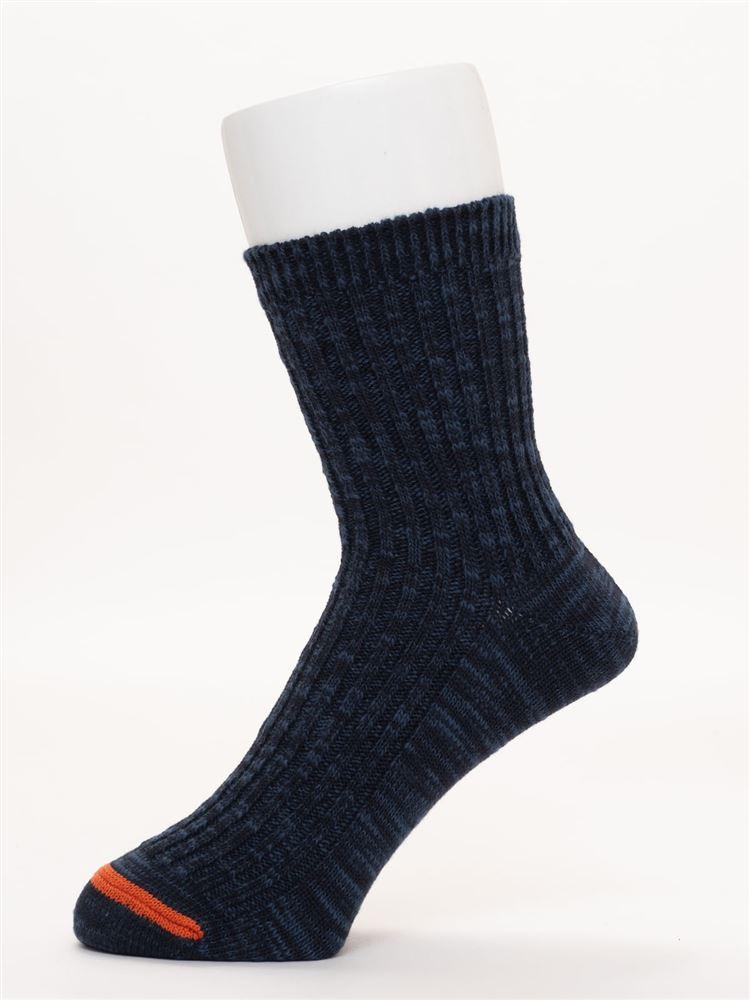 [メンズ]同系色カラースラブソックス17cm丈