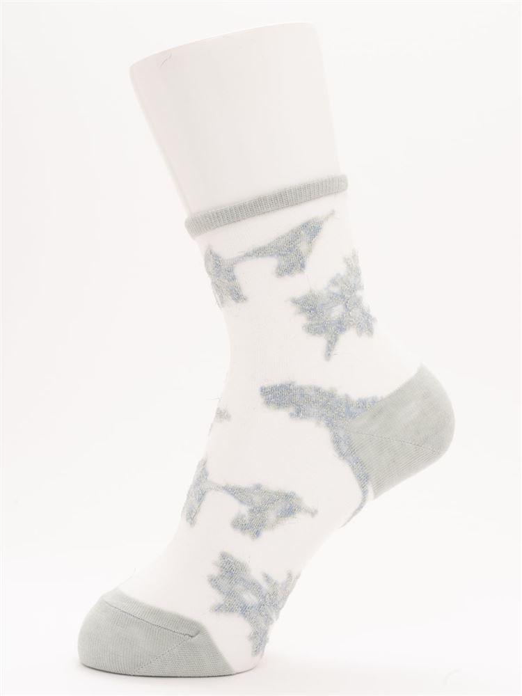[レディライン]シースルーフラワーラメソックス16cm丈
