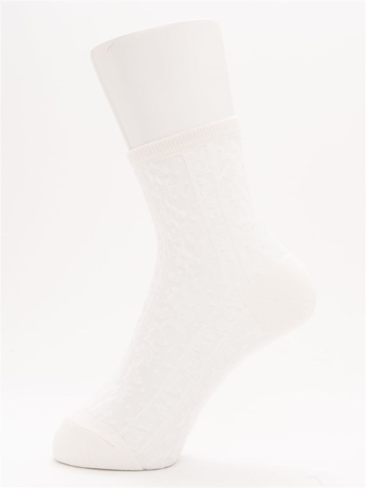 [レディライン]縦花柄カラーシースルーソックス17cm丈