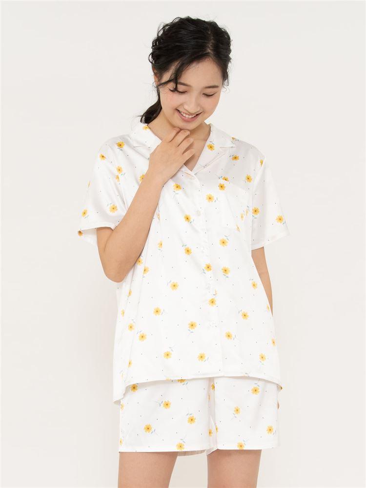 レトロ花柄サテンパジャマ(半袖×1分丈パンツ)