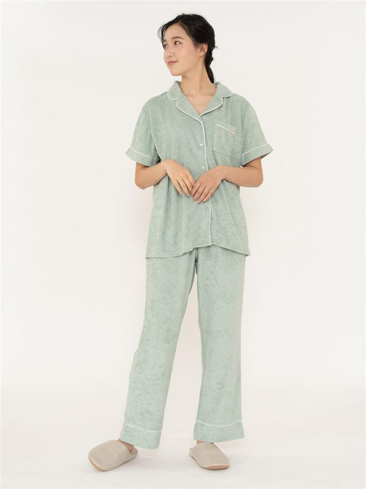 無地パイルパジャマ(半袖×ロングパンツ)