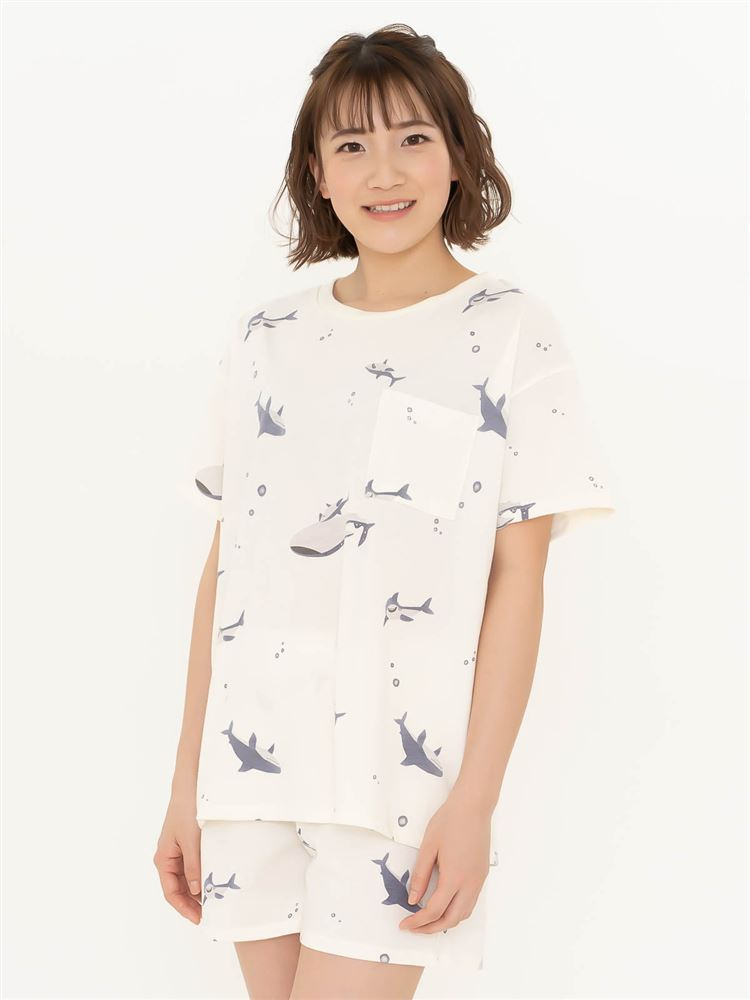 サメ柄天竺パジャマ(半袖×1分丈パンツ)