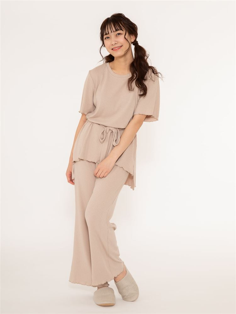裾メローリブパジャマ(半袖×ロングパンツ)