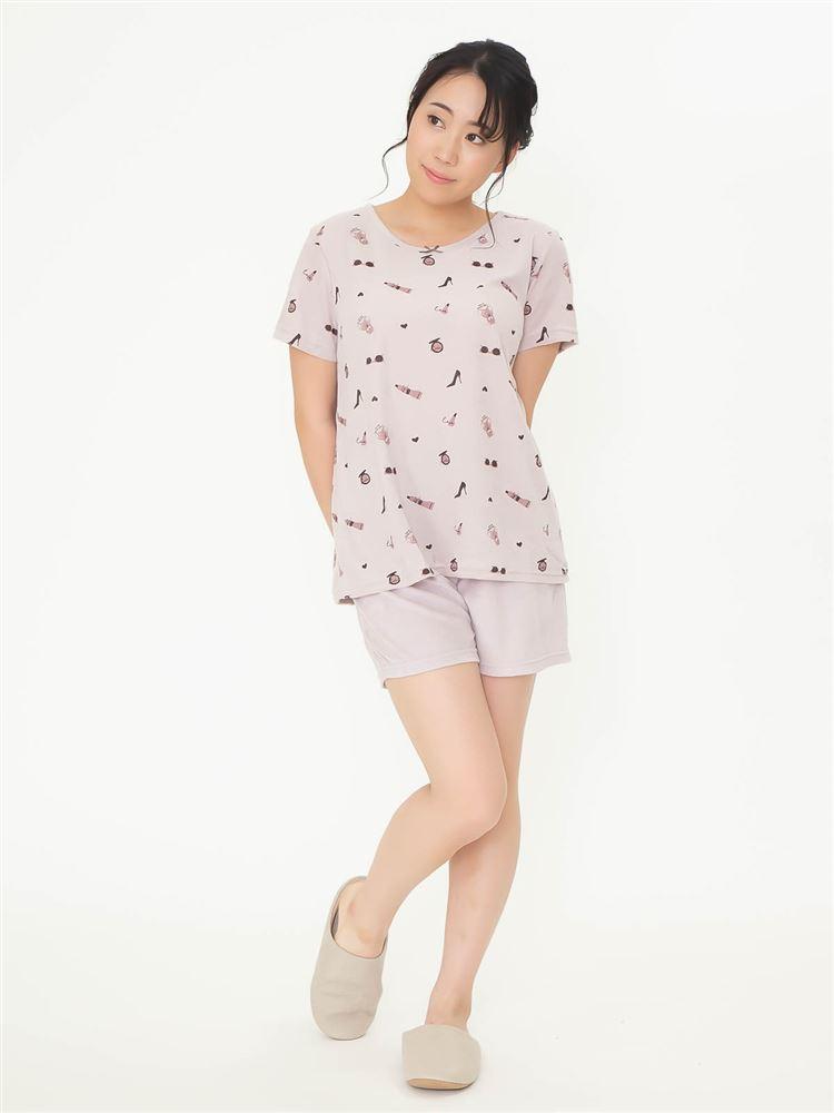 ガーリー柄パイルパジャマ(半袖×1分丈パンツ)
