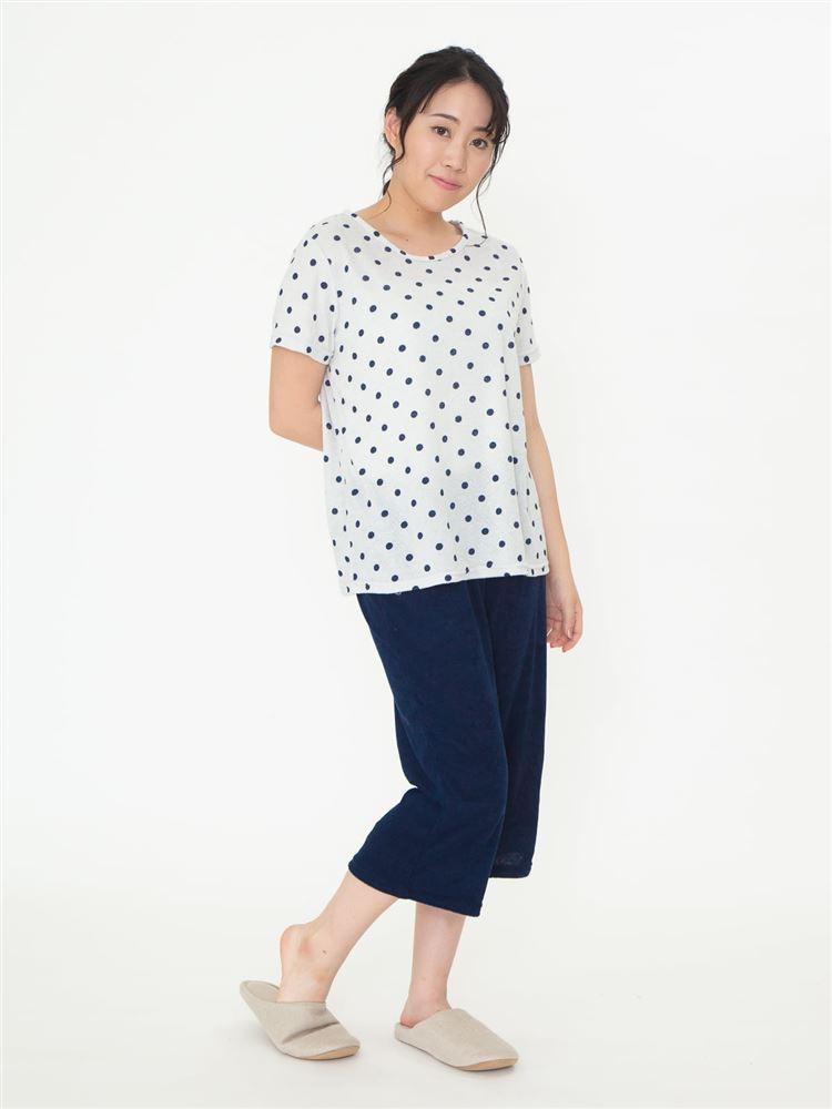 水玉柄パイルパジャマ(半袖×7分丈パンツ)