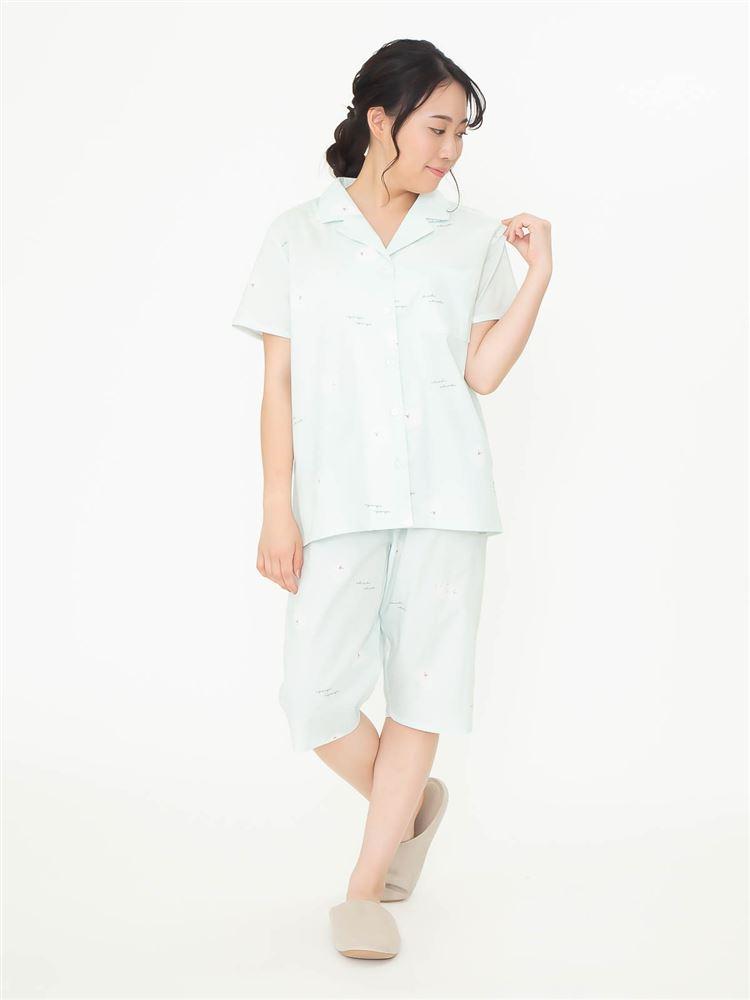 ポメラニアン柄布帛パジャマ(半袖×5分丈パンツ)