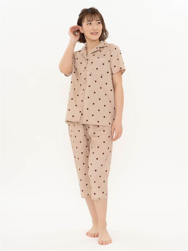 水玉布帛パジャマ(半袖×7分丈パンツ)