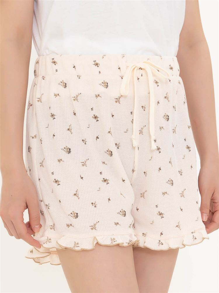 【橋下美好オリジナル】ワッフル花柄ショートパンツ
