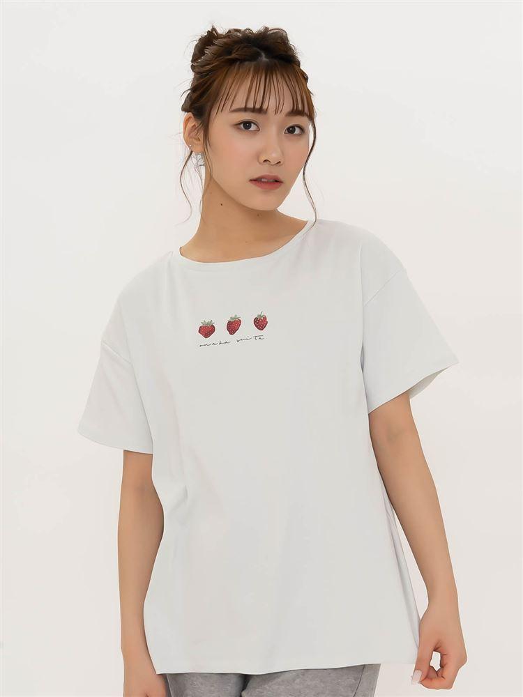 ◆【橋下美好オリジナル】コットンいちごプリントTシャツ