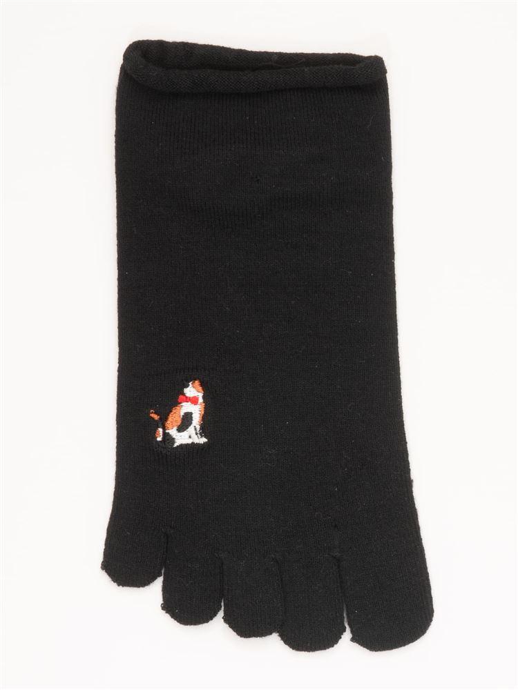 綿レーヨンシルク後ろ猫刺繍5本指くるぶしソックス
