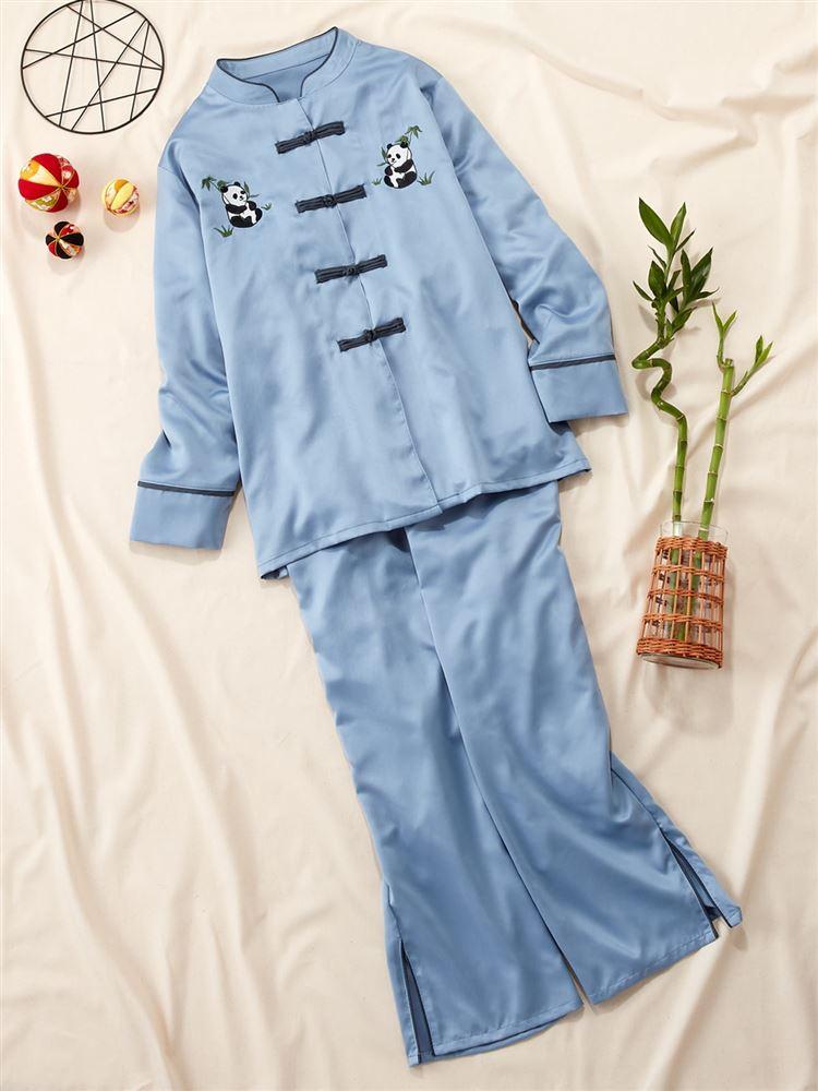 チャイナ風パンダ刺繍サテンパジャマ