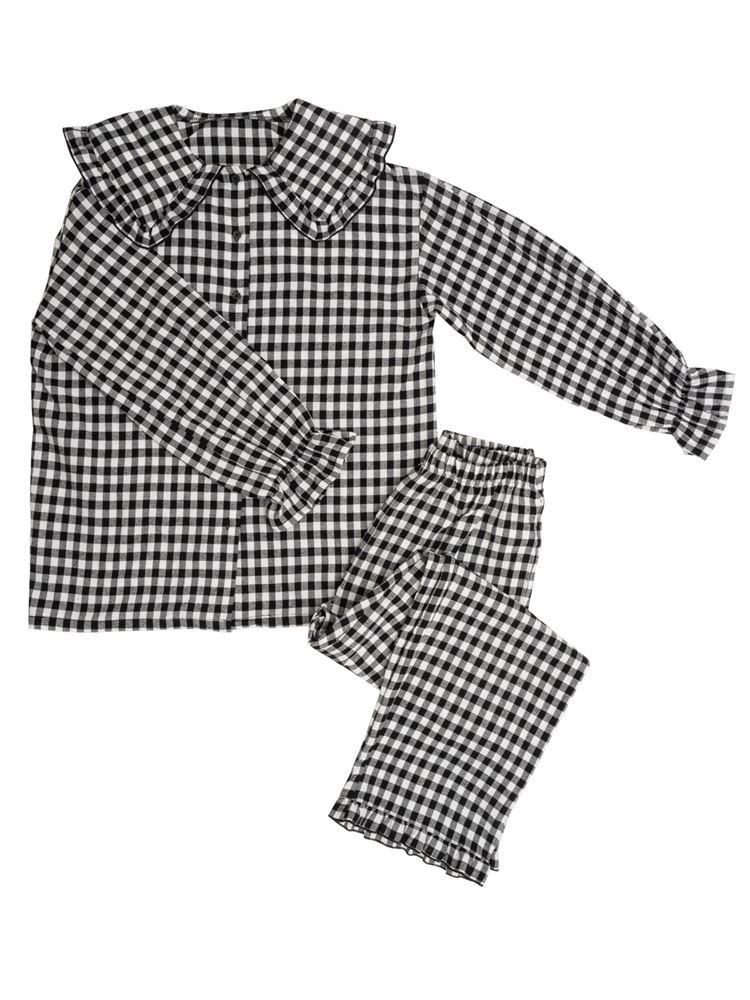 ギンガムチェック柄ビッグカラーパジャマ