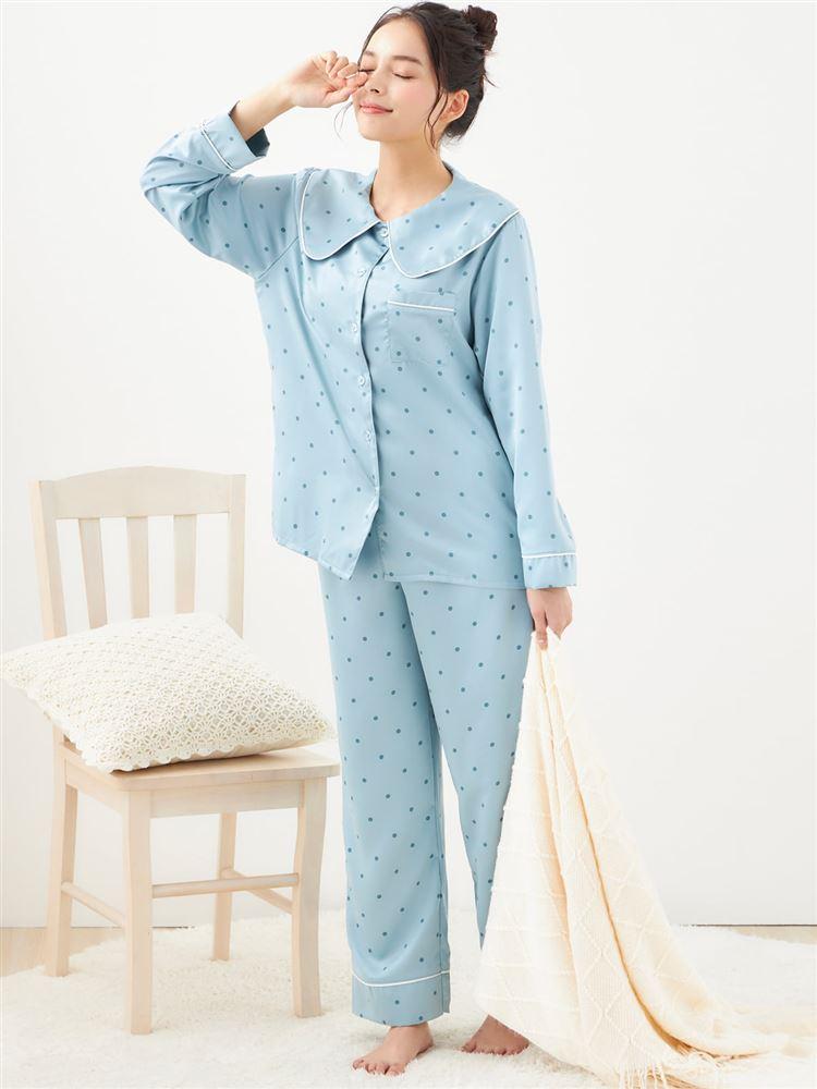 【橋下美好オリジナル】ビッグカラー付きドット柄サテンパジャマ