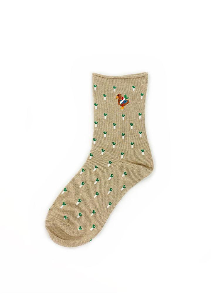 [ちょうどいい靴下]かもねぎ刺繍ねぎ総柄ソックス16cm丈