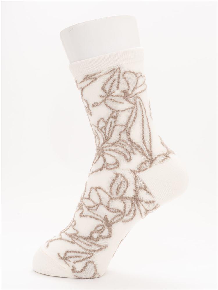 [レディライン]ベロア風花柄ソックス16cm丈