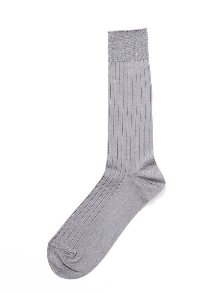 [メンズ]ビジネス綿シルケットリブソックス29cm丈
