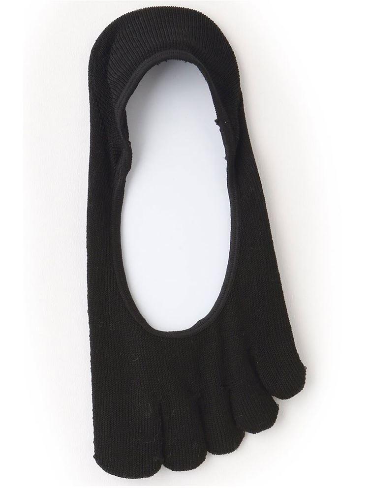エジプト綿混ガスシルケット5本指浅履きカバーソックス