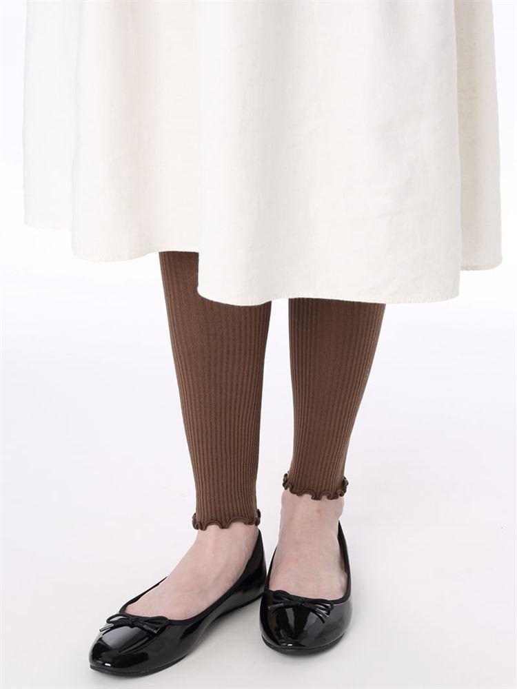 ナイロン裾メロウリブレギンス13分丈