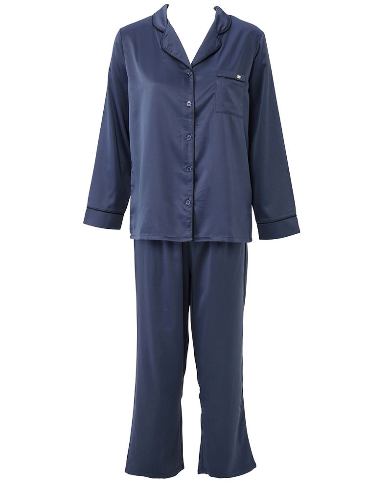 サテン無地衿付き前開き長袖パジャマ