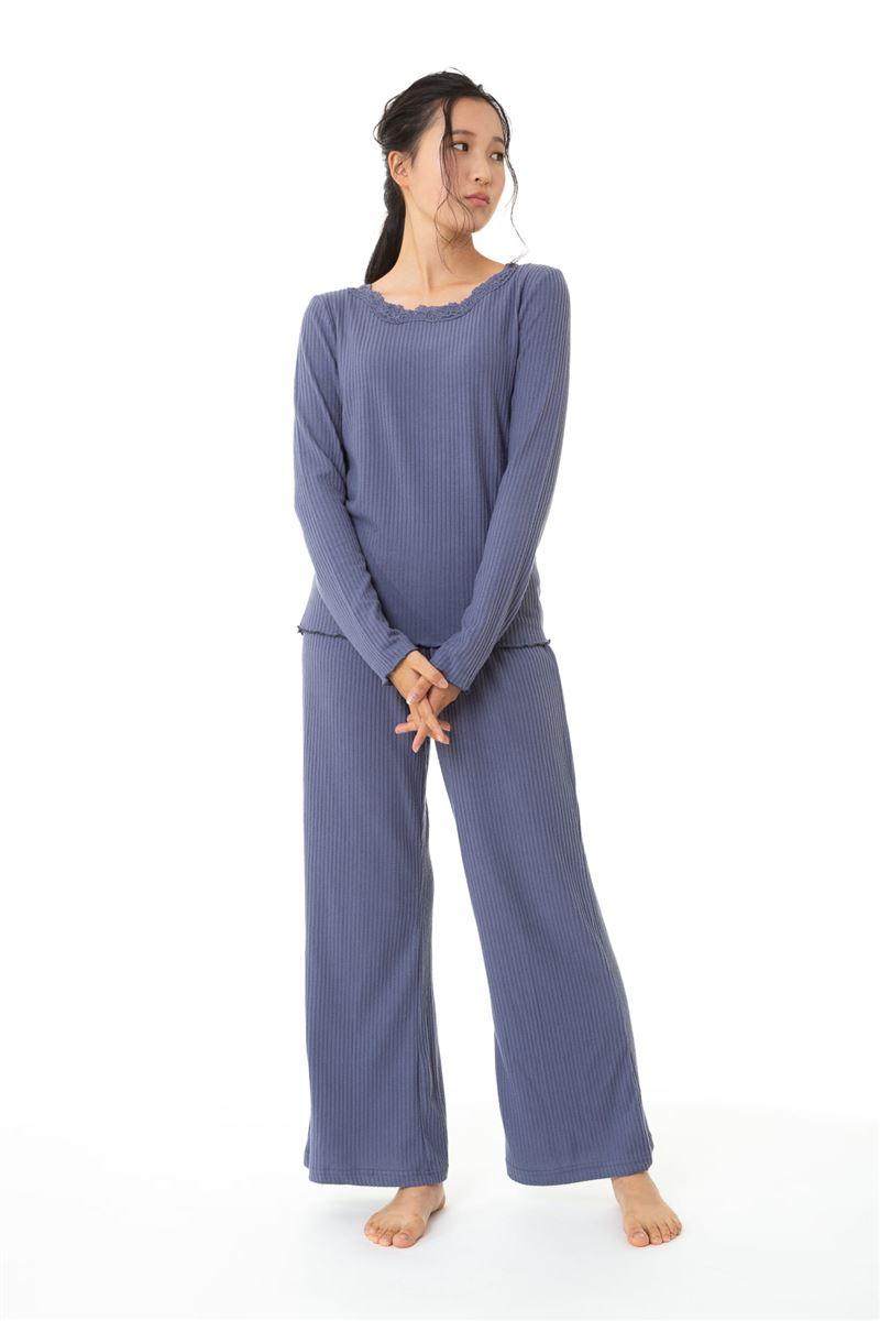 リブレース付き長袖パジャマ