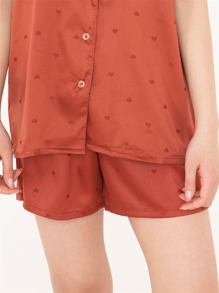 サテンジャガードハート襟付き前開き半袖パジャマ