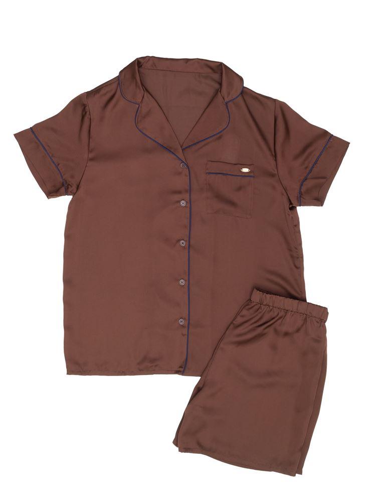 ヴィンテージ風サテン衿付半袖パジャマ