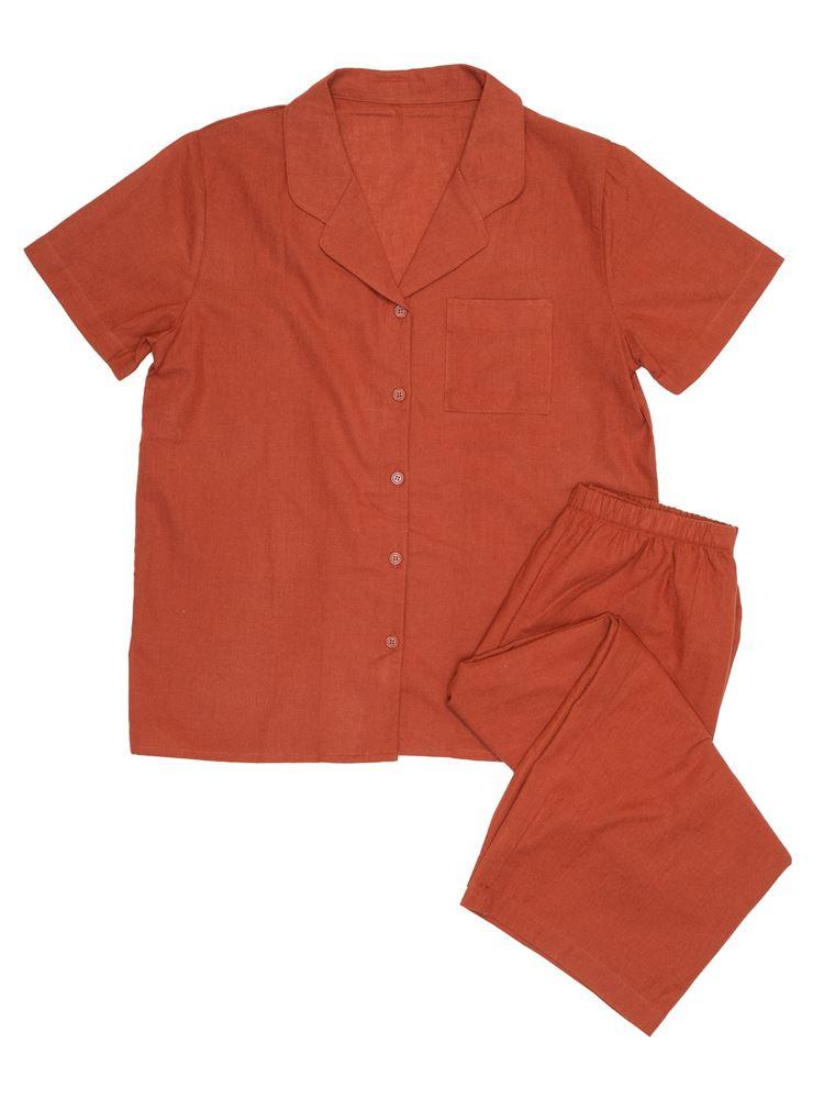 無地綿麻布帛パジャマ(半袖×7分丈パンツ)