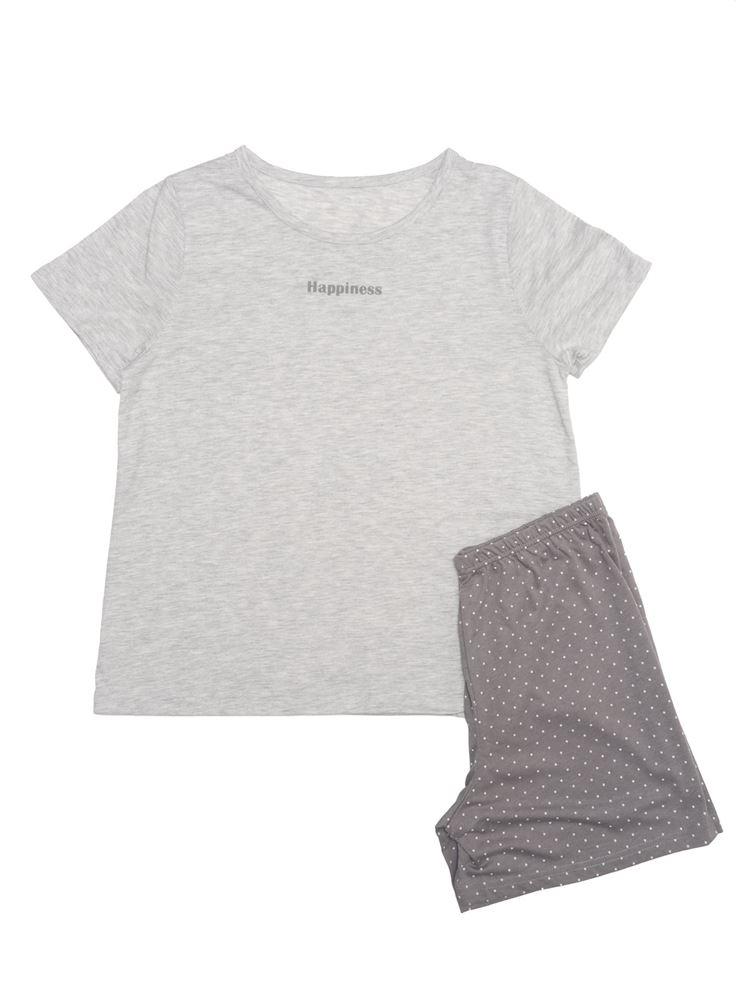 HappinessロゴT×ドットボトムパジャマ(半袖・1分丈パンツ)