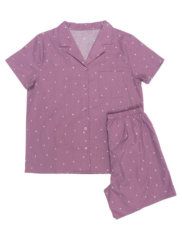 星柄コットンパジャマ(半袖・1分丈パンツ)