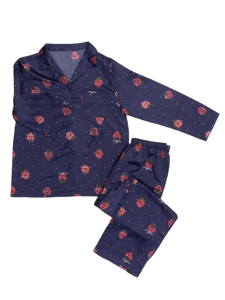 いちごドット柄サテンパジャマ