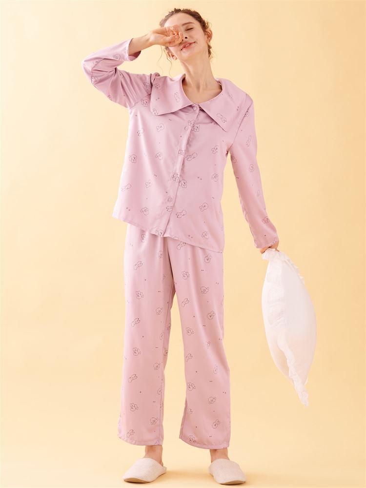 ビッグカラー付きビション柄サテンパジャマ