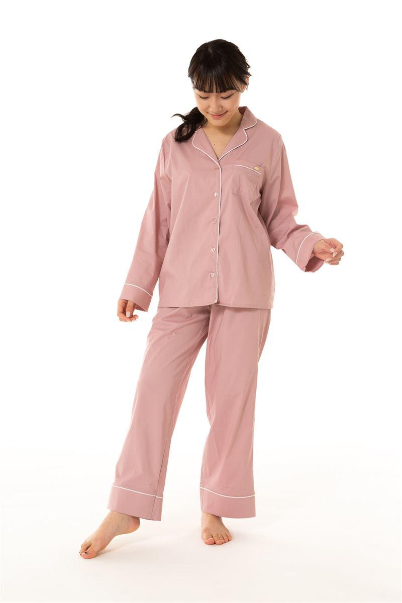 綿混布帛無地衿付き前開き長袖パジャマ